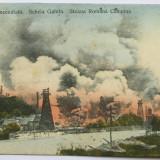 Carti Postale Romania dupa 1918 - Steaua Romana Campina - Sonda incendiata 1920