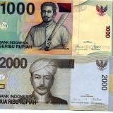 Bancnota Straine - Indonezia 1000 si 2000 rupii 2009 unc