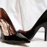 Pantofi dama Buffalo, Piele naturala - Pantofi negri, eleganti, pentru femei, din piele lacuita (9930-361BLACK) BUFFALO REDUCERE EXCEPTIONALA DE PRET