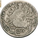 Moneda Medievala - MARIA THERESIA 1740---1780. 20 KREUZER ARGINT 1774. BAIA MARE
