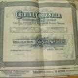 Actiune Creditul Carbonifer 5000 lei Bucuresti 1920