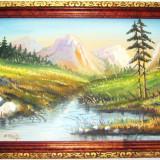 PICTURĂ VECHE, ULEI PE CARTON, PEISAJ MONTAN CU IZVOR, TABLOU SEMNAT R. SEITH!, Peisaje, Realism