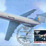 Ilustrata maxima aviatie - avion BAC 1-11, Exp. Fil. Timisoara 1985