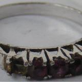 Inel vechi din argint cu 5 pietre - de colectie