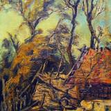 Tablou peisaj PERIFERIE - I.Alexa ( panza, ulei, cutit ) - Pictor roman