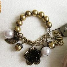 BRATARA ACCESORIZE PERLE AURII SI ELEMENTE DE BRONZ ANTICHIZAT - Bratara perle