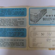 TICHET HOTEL BULEVARD CU HARTA SIBIU DIN ANII 70 - Pliant Meniu Reclama tiparita