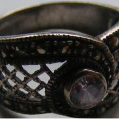 Inel vechi din argint cu piatra si markasite - de colectie
