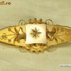 BROSA aur 9 karate cu diamant natural~~ANUL 1890