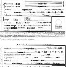 Aplicatie completat formulare postale (buletin expeditie, mandat, ...) - 20 lei - Aplicatie PC