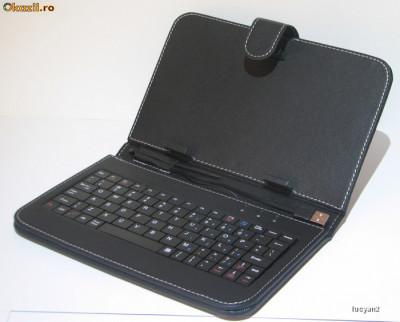 "Tastatura tablete 7"" husa cu tastatura incorporata tip MAPA , conectare USB  + Stilus Pen, special pentru tableta pc cu android. foto"