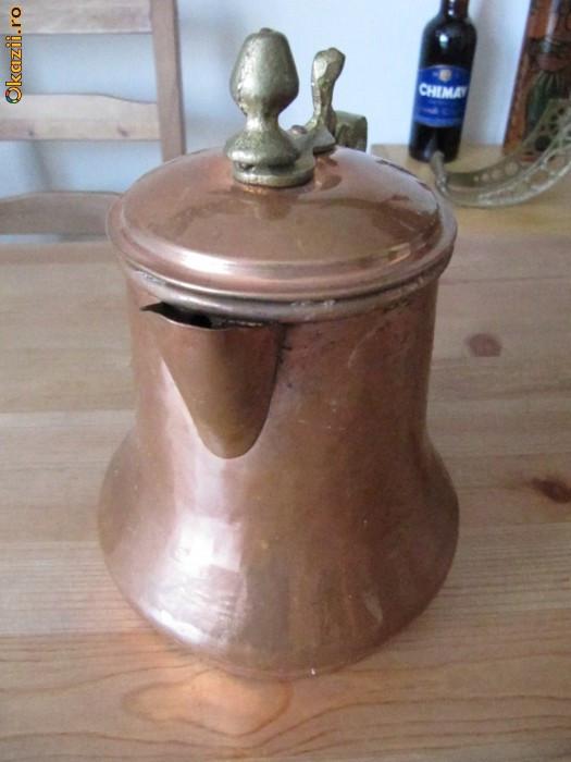 ceainic arabesc din cupru si alama, h=21cm foto mare