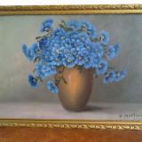 Superb tablou vaza cu flori de camp, pictura ulei pe carton, semnata - Pictor roman, Realism