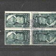 Timbre Romania - Romania 1948 - FABRICA DE TIMBRE, 7.5 lei BLOC 2 PERECHI TETE-BECHE stampilata PRIMA ZI A EMISIUNII M66