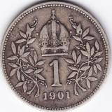 4) Austria Ungaria 1 Krone-Korona (Coroana) 1901, argint, VF