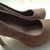 Pantofi din piele cappucino bej, stil elegant cu platforma - Pantofi dama Asos, Marime: 38, Cappuccino