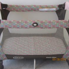 Pat pliant/Tarc cu doua nivele si cu accesorii pentru copii marca Graco USA - Tarc de joaca