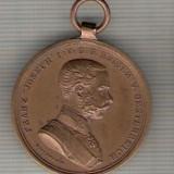 C354 Medalie veche -Der Tapferkeit -Kaizerul Austriei Franz Joseph -superba -marime cca 31X35mm, gr. aprox 16 gr. -starea care se vede