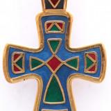 Cruce ortodoxa ruseasca, stil vechi, emailata, placata aur - deosebita - Pandantiv argint