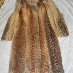 Haina dama de blana din vulpe roscata - Palton dama, Marime: 42, Culoare: Auriu