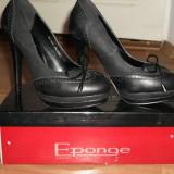 Pantofi piele eponge toc 12 cm cu platforma