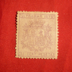 Timbru 12 1/2 C ,violet 1875 Cuba ,fara guma