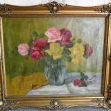 Vaza cu trandafiri - pictura veche in ulei pe panza - Pictor roman