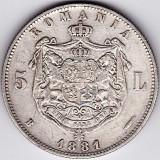 Romania,5 LEI 1881,argint,DOMNUL,de colectie