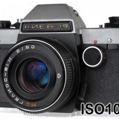 Kiev 19 + Helios 81 N 50mm F2 - Aparat Foto cu Film Kiev, SLR, Mic