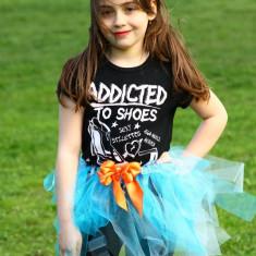 Haine Copii 7 - 9 ani, Fuste, Fete, Din imagine - Fusta tutu realizata manual din tul crystal, Turquoise si sky blue, 6-7 ani