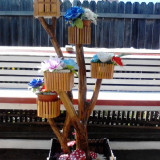 Ghiveci - Suporti ornamentali pentru flori din lemn rustic