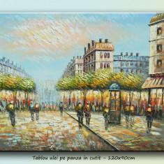 Tablou - Parisul vechi, bulevard animat (2) - în ulei, în cuțit, 120x90cm