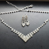 Set elegant argintiu cu cristale