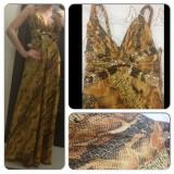 Rochie de seara lunga aurie gold eleganta din saten cu paiete marimea 36-38