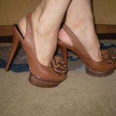 Pantofi dama - Pantofi cu platforma piele naturala