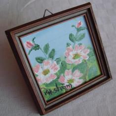 Miniatura peisaj cu flori (3) - Tablou autor neidentificat, Realism