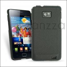 Husa Samsung Galaxy S2 i9100 neagra piele - Husa Telefon Samsung, Negru, Piele Ecologica, Fara snur, Carcasa