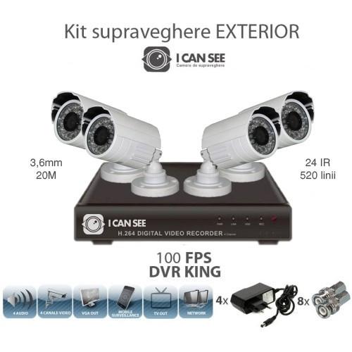 Kit Supraveghere 4 camere exterior CMOS + DVR ICS-REGAL V2 foto mare