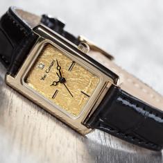 Ceas dama, Lux - elegant, Quartz, Placat cu aur, Piele, Data - Ceas de Lux-