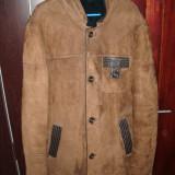 Palton barbati, XL, Piele - Cojoc barbatesc piele naturala cu blana la interior NOU