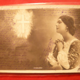 Ilustrata Cavalieri circ.Spic de Grau 5 Bani verde, stamp.violeta Tunari- F.Rara! - Carte Postala Romania 1904-1918, Circulata