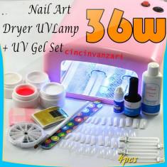 KIT SET Unghii false BeautyUkCosmetics GEL UV MANICHIURA LAMPA UV 36 W DEGRESANT TOP COAT