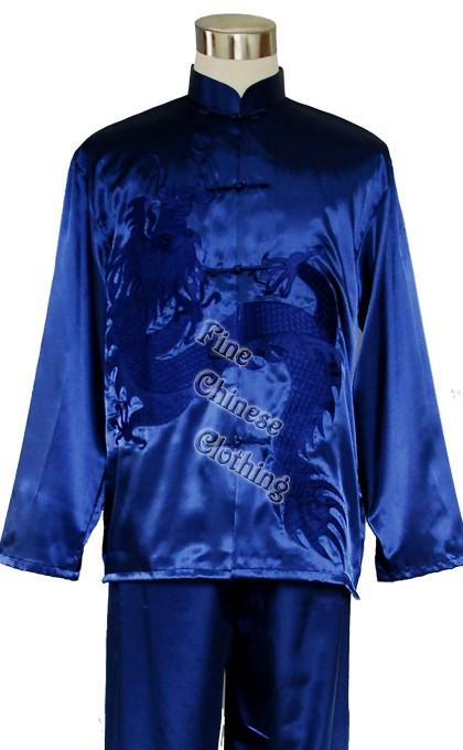 Costum traditional chinezesc unisex albastru cu imprimeu dragon nou,Kung Fu/Tai Chi-XL foto mare