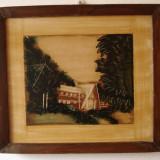 Tablou, pictura pe lemn - artizanat (vechi, vintage, colectie) - Pictor roman