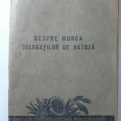 DESPRE MUNCA DELEGATILOR DE BATOZA - COMITETUL DE STAT PENTRU COLECTAREA PRODUSELOR AGRICOLE - ANUL 1954 - Pliant Meniu Reclama tiparita
