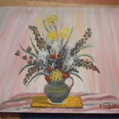 Tablou pictori straini, Natura moarta, Altul - TABLOU PICTAT PE PANZA IN ULEI FLORI