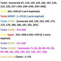 VAND COLECTII SURPRIZE TURBO. ~ 1000 bucati! 6 serii complete + serii duplicat + serii incomplete - Surpriza Turbo