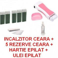 Ceara epilare - SET EPILAT aparat incalzit ceara 5 cartuse set hartie epilat ulei dupa epilat