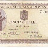 1) Bancnota 500 lei 1940, filigran vertical, VF