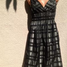 Rochie bufanta, argintie cu negru, zara, ampla si decoltata, Marime: 38, Midi, Scurta